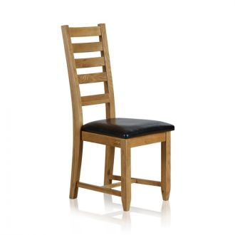 Classic Dining Chair in Natural Solid Oak - Black Leather Seat