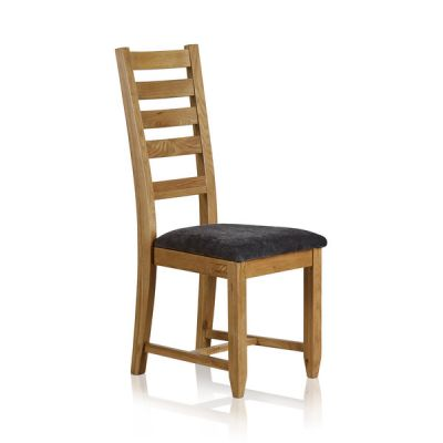 Classic Dining Chair in Natural Solid Oak - Charcoal Fabric Seat