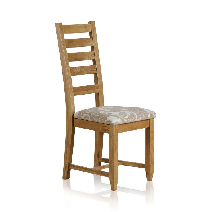 Classic Dining Chair in Natural Solid Oak - Patterned Beige Fabric Seat - Image 5