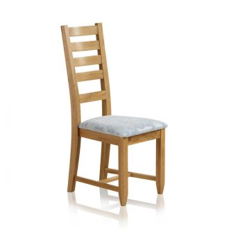 Classic Dining Chair in Natural Solid Oak - Patterned Duck Egg Fabric Seat