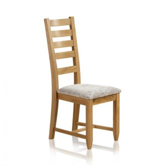 Classic Dining Chair in Natural Solid Oak - Plain Truffle Fabric Seat