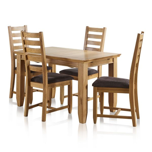 "Classic Natural Solid Oak 4ft 3"" x 2ft 7"" Extending Dining Table With 4 Plain Charcoal Fabric Chairs"