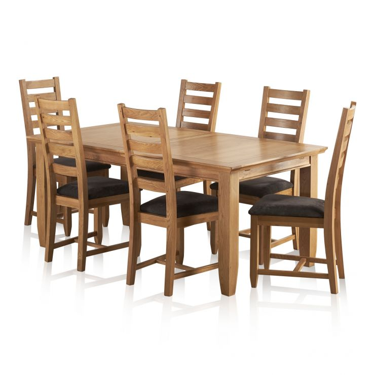 """Classic Natural Solid Oak 6ft x 3ft 3"""" Extending Dining Table with 6 Plain Charcoal Fabric Chairs - Image 9"""