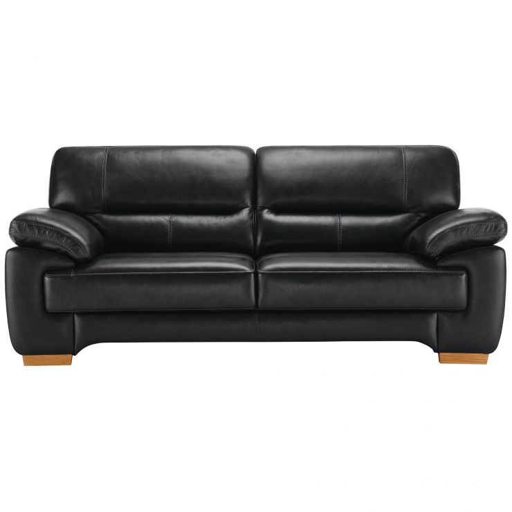 Clayton 3 Seater Sofa in Black Leather - Image 3
