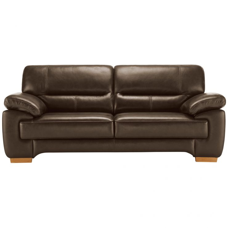 Clayton 3 Seater Sofa in Light Brown Leather - Image 4