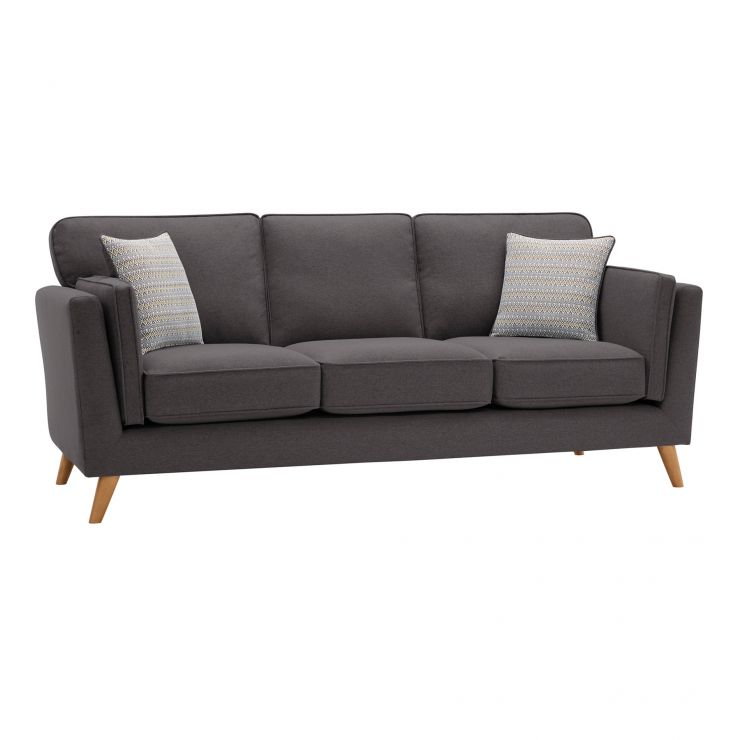 Cooper 3 Seater Sofa in Sprite Fabric - Charcoal - Image 1