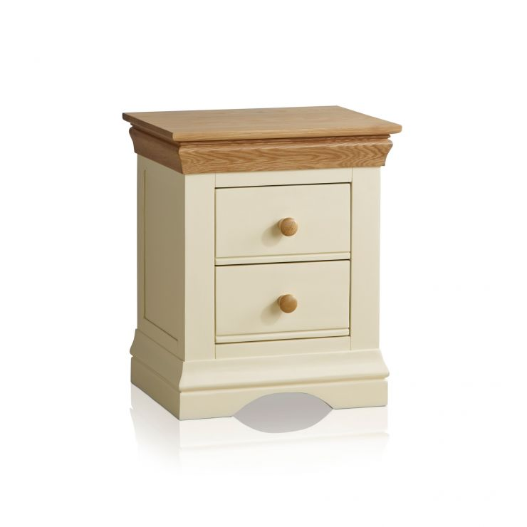 Country Cottage Natural Oak and Painted 2 Drawer Bedside Table - Image 7