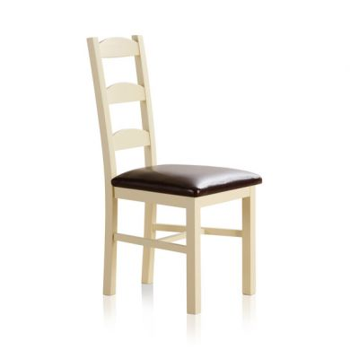 Country Cottage Natural Oak and Painted and Brown Leather Dining Chair