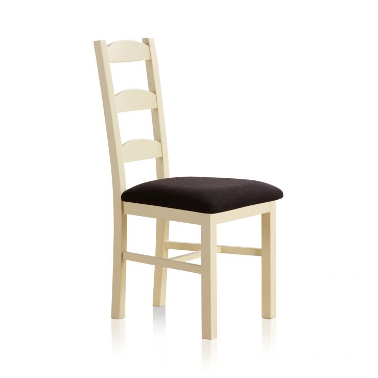 Country Cottage Natural Oak and Painted and Plain Black Fabric Dining Chair - Image 3