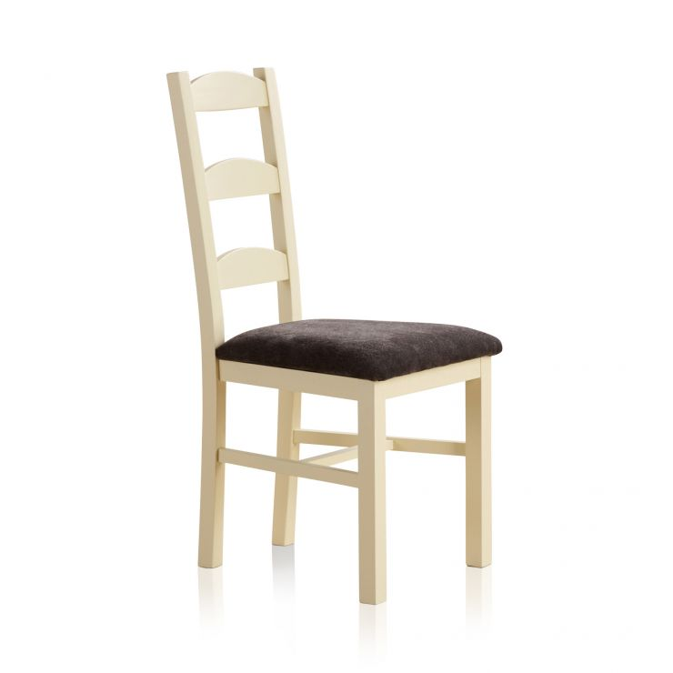 Country Cottage Natural Oak and Painted and Plain Charcoal Fabric Dining Chair - Image 3