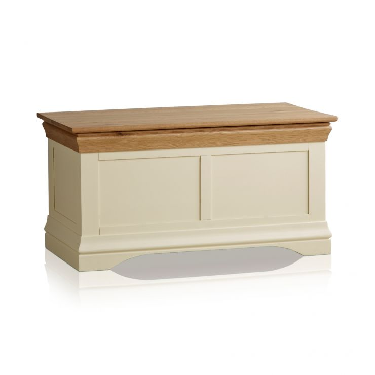 Country Cottage Natural Oak and Painted Blanket Box - Image 5