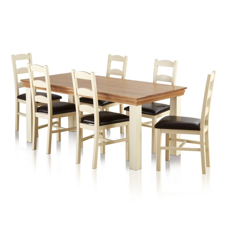 Country Cottage Natural Oak and Painted Dining Set - 6ft Table with 6 Country Cottage Leather Chairs - Image 6