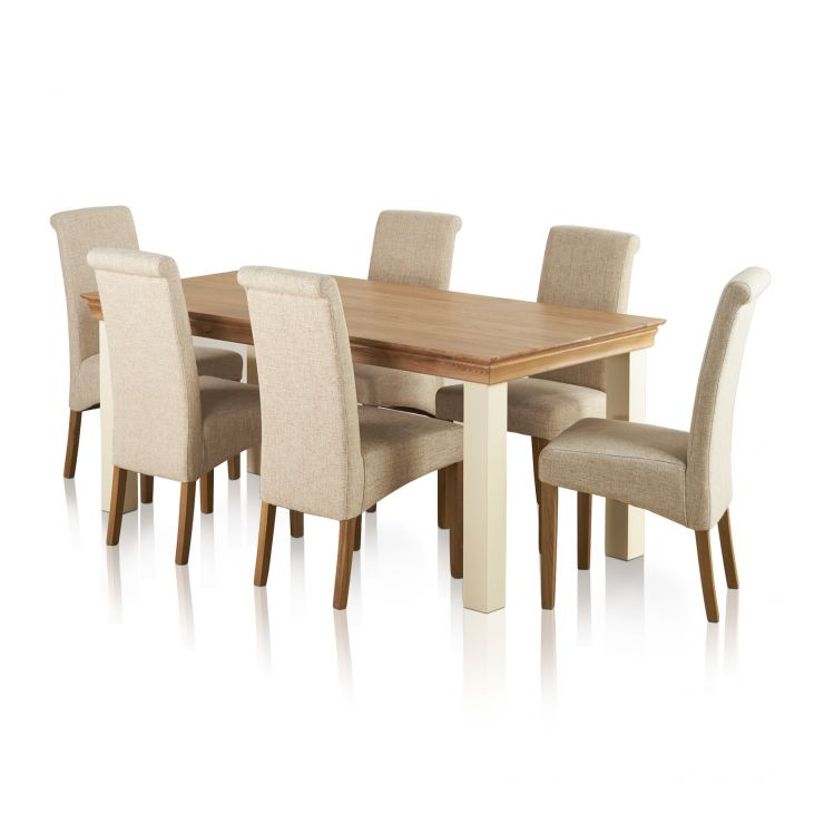 Country Cottage Natural Oak and Painted Dining Set - 6ft Table with 6 Scroll Back Plain Beige Fabric Chairs - Image 6