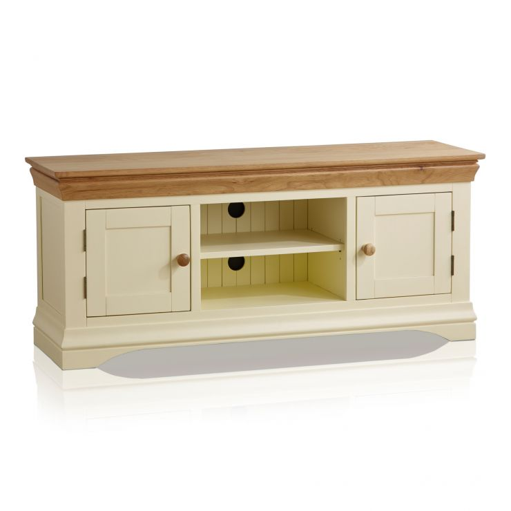 Country Cottage Natural Oak and Painted Large TV Cabinet - Image 5