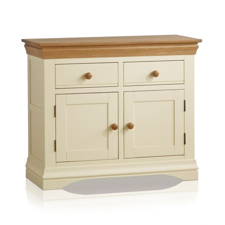 Country Cottage Natural Oak and Painted Small Sideboard - Image 7