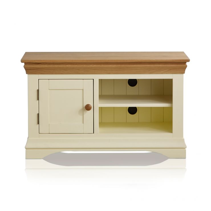 Country Cottage Natural Oak and Painted Small TV Cabinet - Image 5