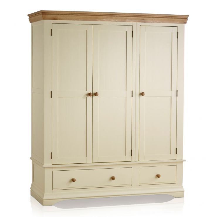 Country Cottage Natural Oak and Painted Triple Wardrobe - Image 1