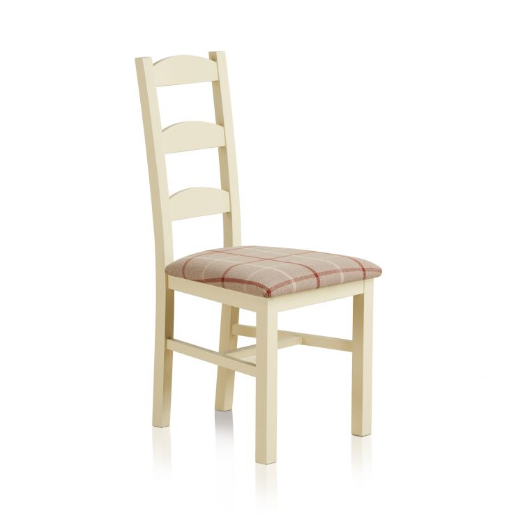 Country Cottage Natural Oak Painted and Check Natural Fabric Dining Chair