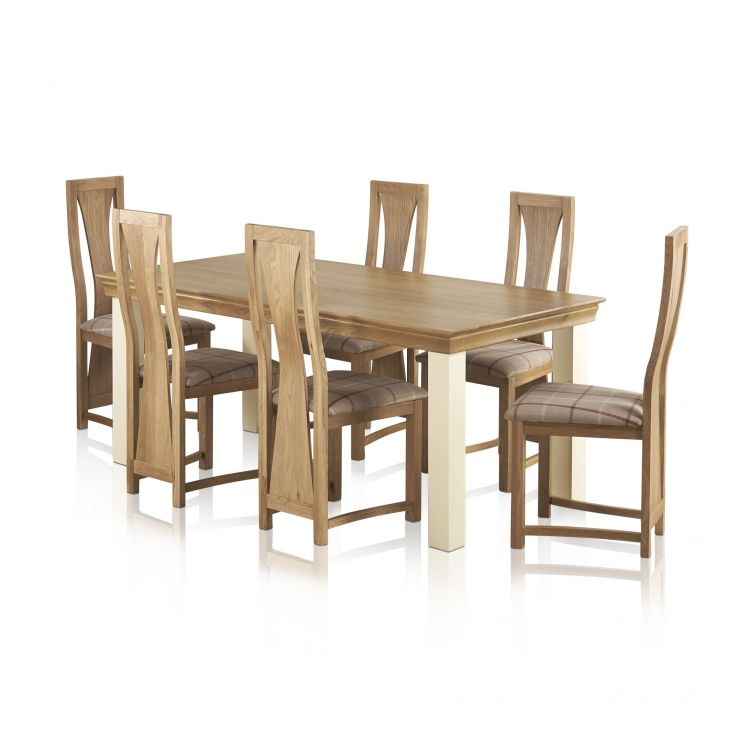 Country Cottage Painted Dining Set - 6ft Table + 6 Waterfall Natural Oak & Check Fabric Chairs