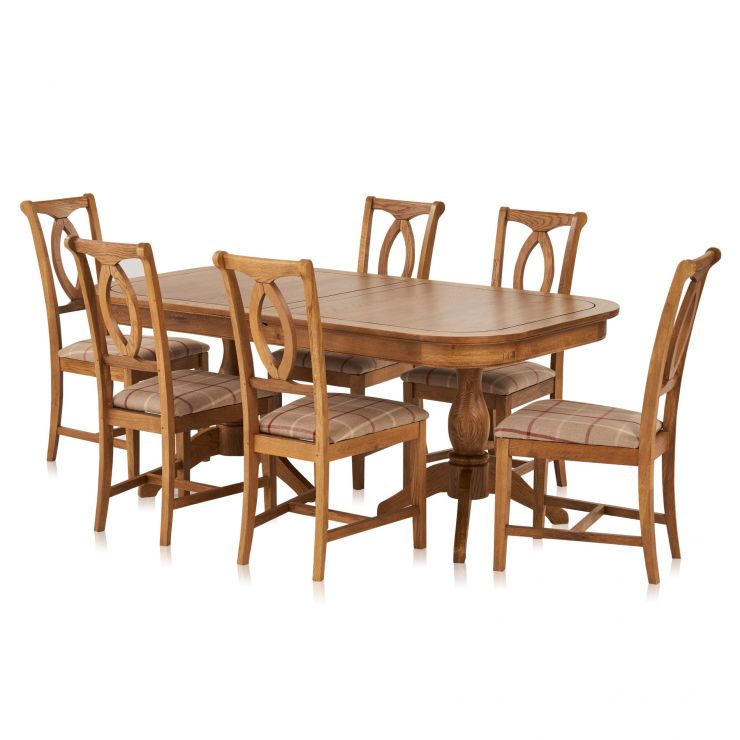 Crawford Rustic Solid Oak 6ft Extending Dining Table with 6 Crawford Chairs - Image 6