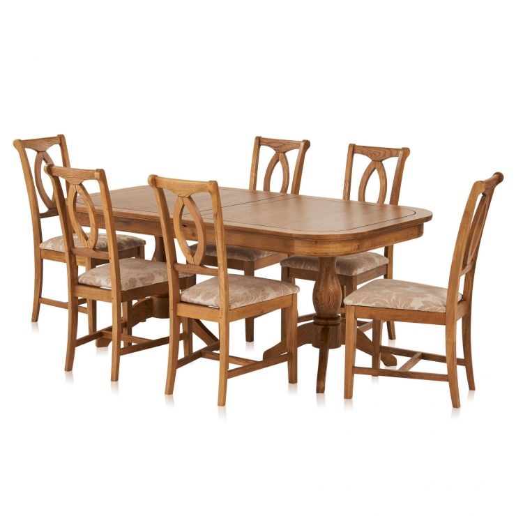 Crawford Rustic Solid Oak 6ft Extending Dining Table with 6 Crawford Chairs