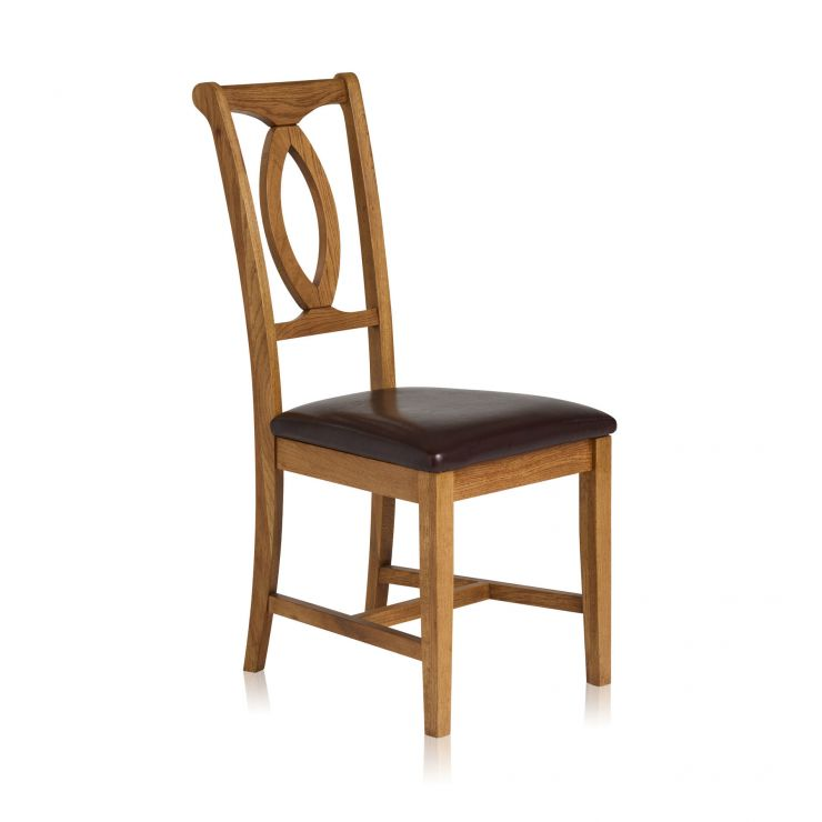 Crawford Rustic Solid Oak and Brown Leather Dining Chair