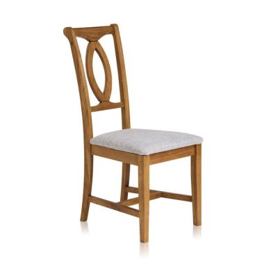 Crawford Rustic Solid Oak and Plain Grey Fabric Dining Chair