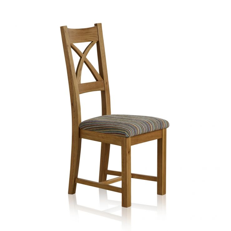 Cross Back Natural Solid Oak Dining Chair with Multi-coloured Stripe Fabric Chair Pad - Image 3