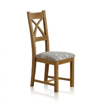 Cross Back Natural Solid Oak Dining Chair with Patterned Grey Fabric Chair Pad