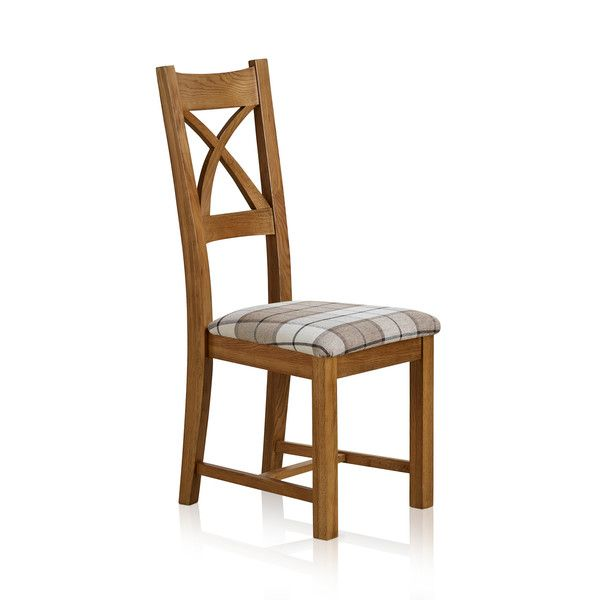 Cross Back Rustic Solid Oak Dining Chair with Brown Checked Fabric Chair Pad