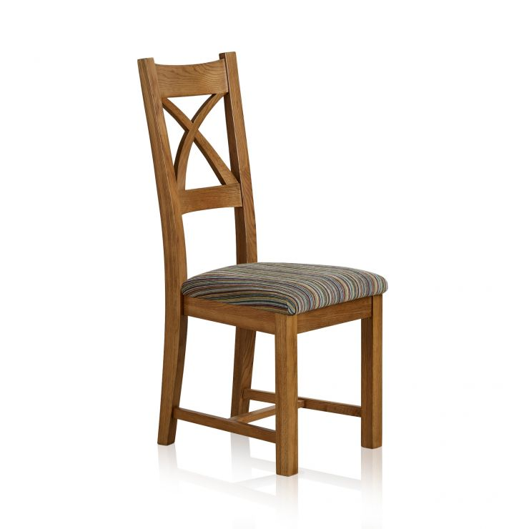 Cross Back Rustic Solid Oak Dining Chair With Multi-coloured Stripe Fabric  - Image 4