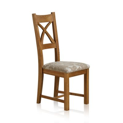Cross Back Rustic Solid Oak Dining Chair with Patterned Beige Fabric Chair Pad