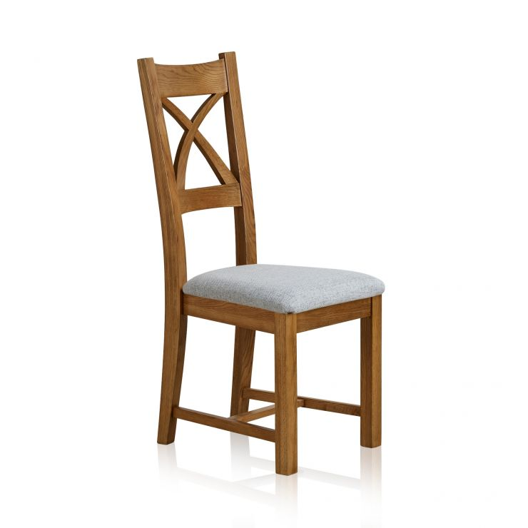 Cross Back Rustic Solid Oak Dining Chair with Plain Grey Fabric Chair Pad