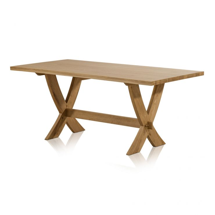 Crossley 6ft x 3ft Natural Solid Oak Crossed Leg Dining Table - Image 3