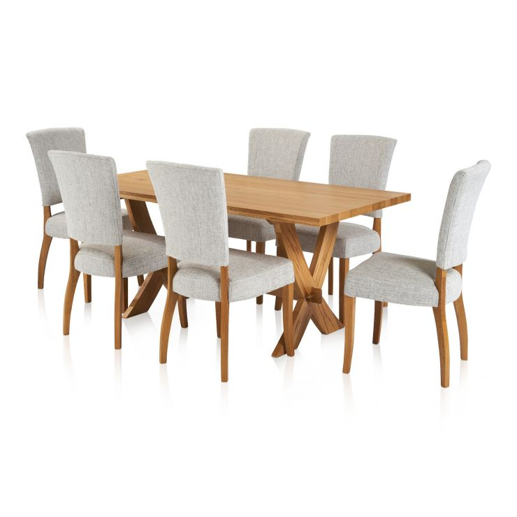 Crossley Dining Set - 6ft Table with 6 Plain Grey Upholstered Curve Back Chairs