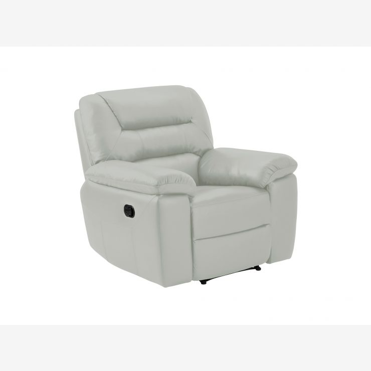 Devon Armchair with Manual Recliner - Grey Leather - Image 4