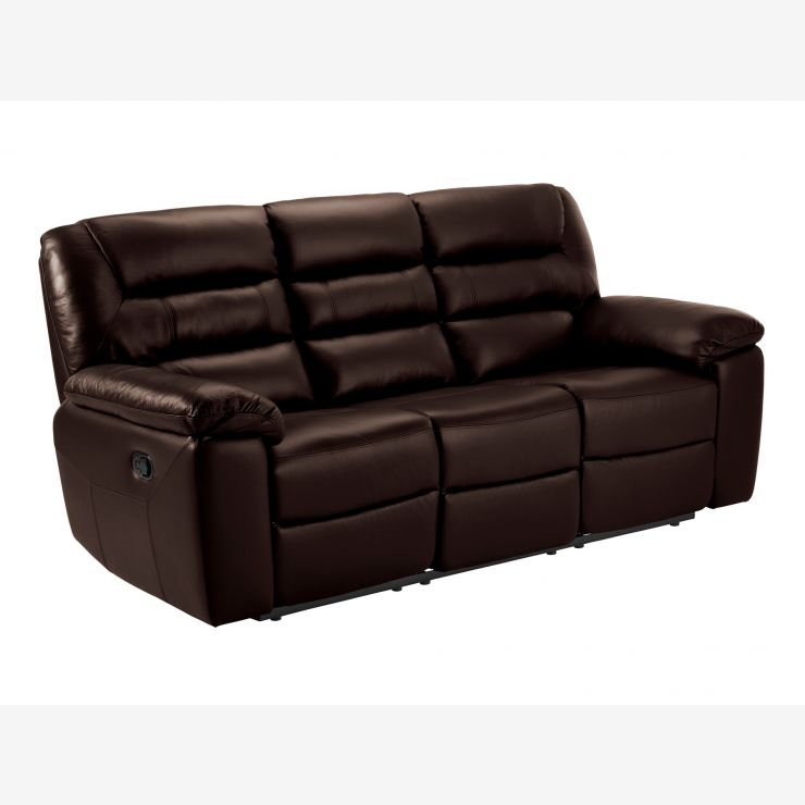 electric recliners on sale. Devon 3 Seater Electric Sofa With 2 Recliners - Tone Brown Leather Image 1 Express Delivery. New Low Price On Sale N