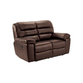 Devon 2 Seater Sofa with Electric Recliners - 2 Tone Brown Leather