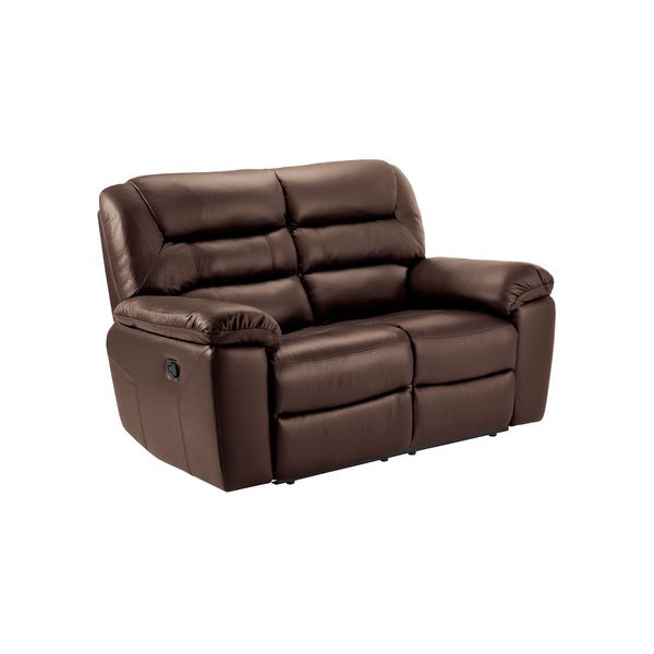Devon 2 Seater Sofa with Manual Recliners - 2 Tone Brown Leather