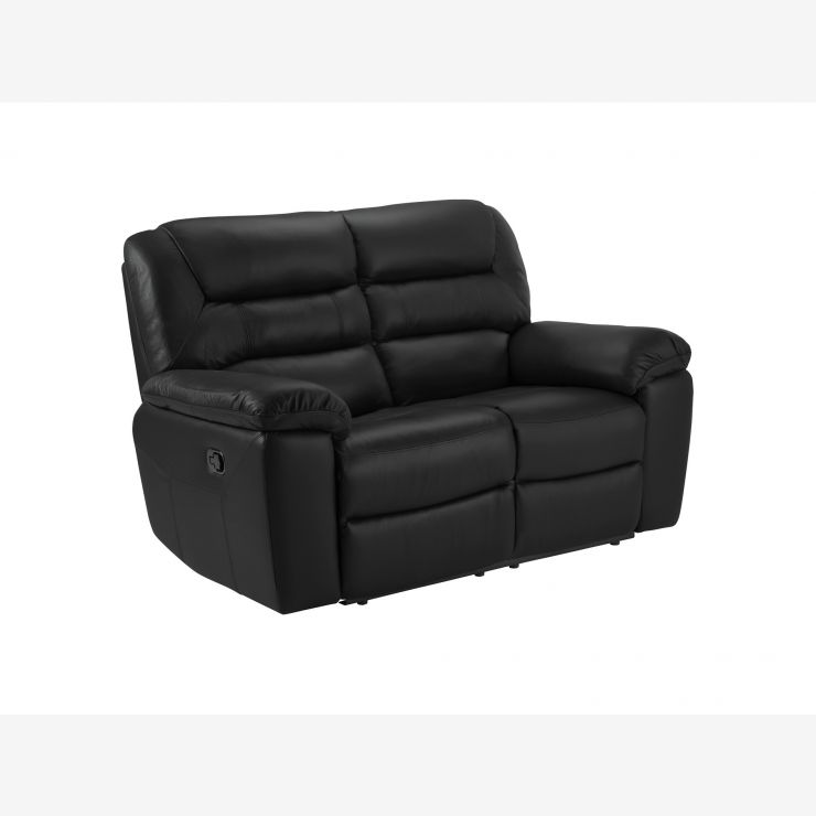 Devon 2 Seater Sofa with Manual Recliners - Black Leather