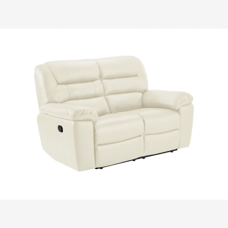 Devon 2 Seater Sofa with Manual Recliners - Cream Leather