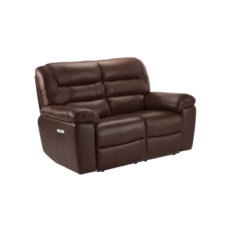 Devon 2 Tone Brown Leather 2 Seater Electric Recliner Sofa