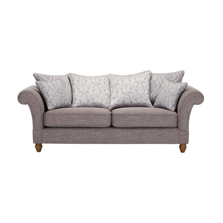 Dorchester 3 Seater Pillow Back Sofa in Civic Smoke with Silver Scatters - Image 1
