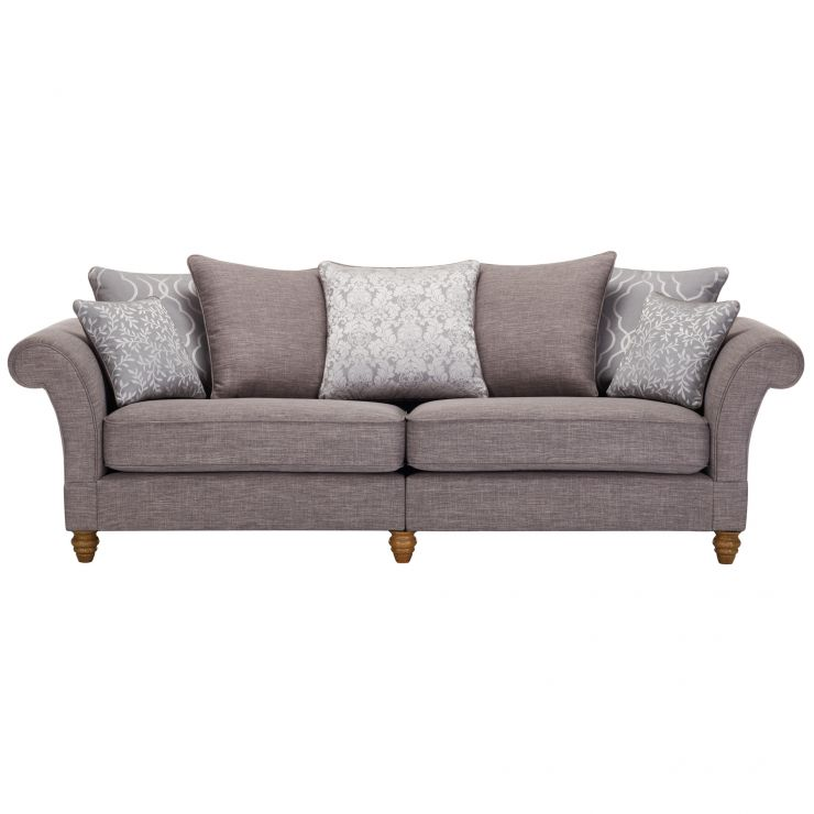 Dorchester 4 Seater Pillow Back Sofa in Civic Smoke with Silver Scatters - Image 1