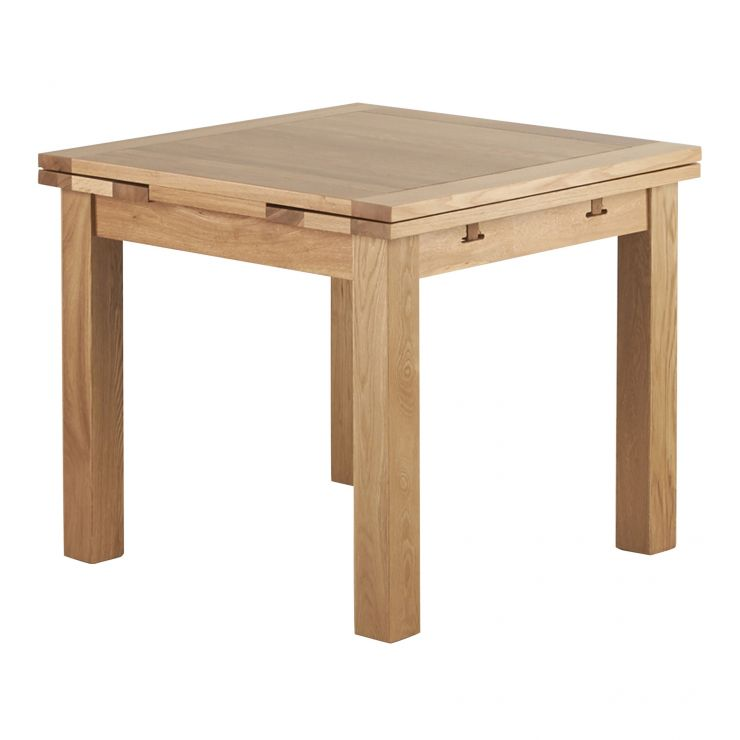 Dorset 3ft x 3ft Natural Oak Extending Dining Table - Image 1
