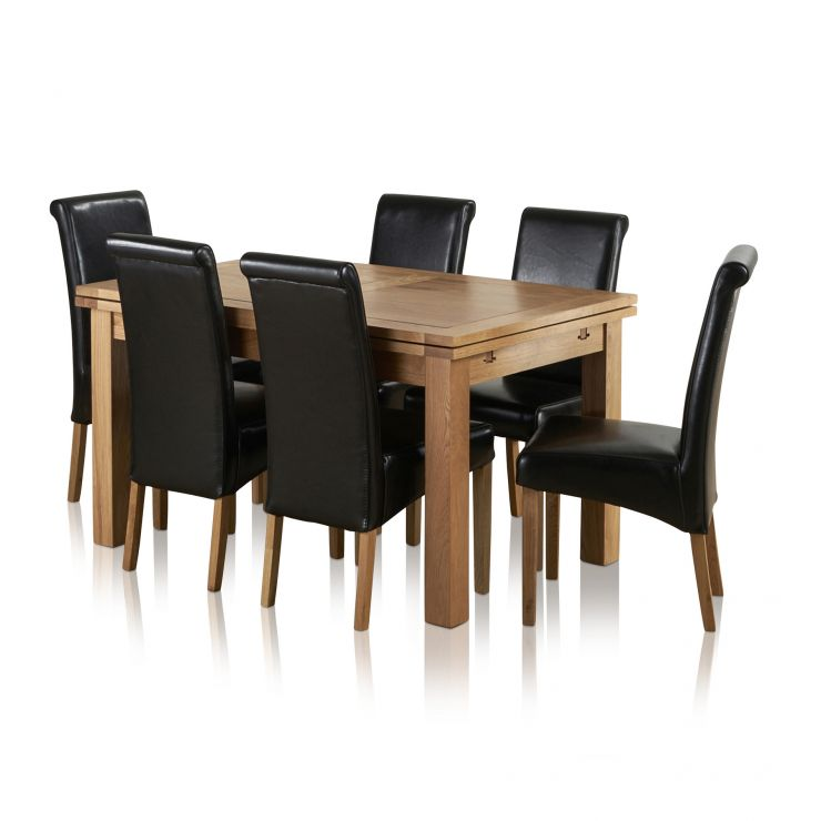"""Dorset 4ft 7"""" x 3ft Natural Solid Oak Extending Dining Table + 6 Black Leather Scroll Back Chairs"""