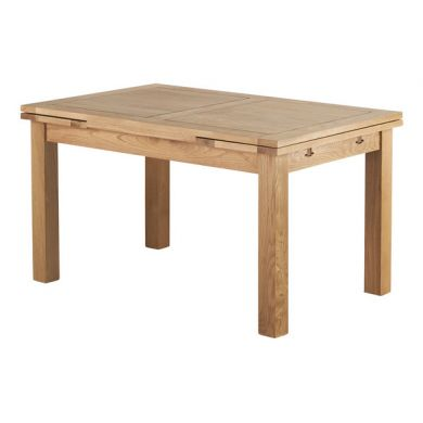"4ft 7"" x 3ft Natural Solid Oak Extending Dining Table"