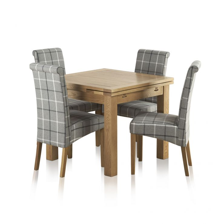 Dorset Natural Oak Dining Set - 3ft Extending Table with 4 Scroll back Check Granite Fabric Chairs - Image 9
