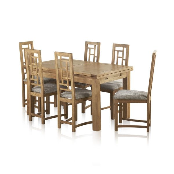 "Dorset Natural Oak Dining Set - 4ft 7"" Extending Table + 6 Fret Back & Plain Truffle Fabric Chairs"