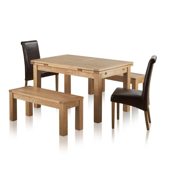 """Dorset Natural Oak Dining Set - 4ft 7"""" Extending Table with 2 x 3ft 7"""" Benches and 2 x Scroll Back B - Image 8"""
